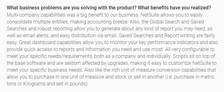 G2 netsuite review