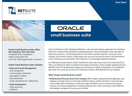 Oracle Small Business Suite shd